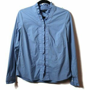 Womens Lands End Ruffled Placket Shirt Button up B